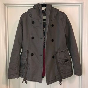 Roxy Gray Quilted Winter Hooded Jacket Coat